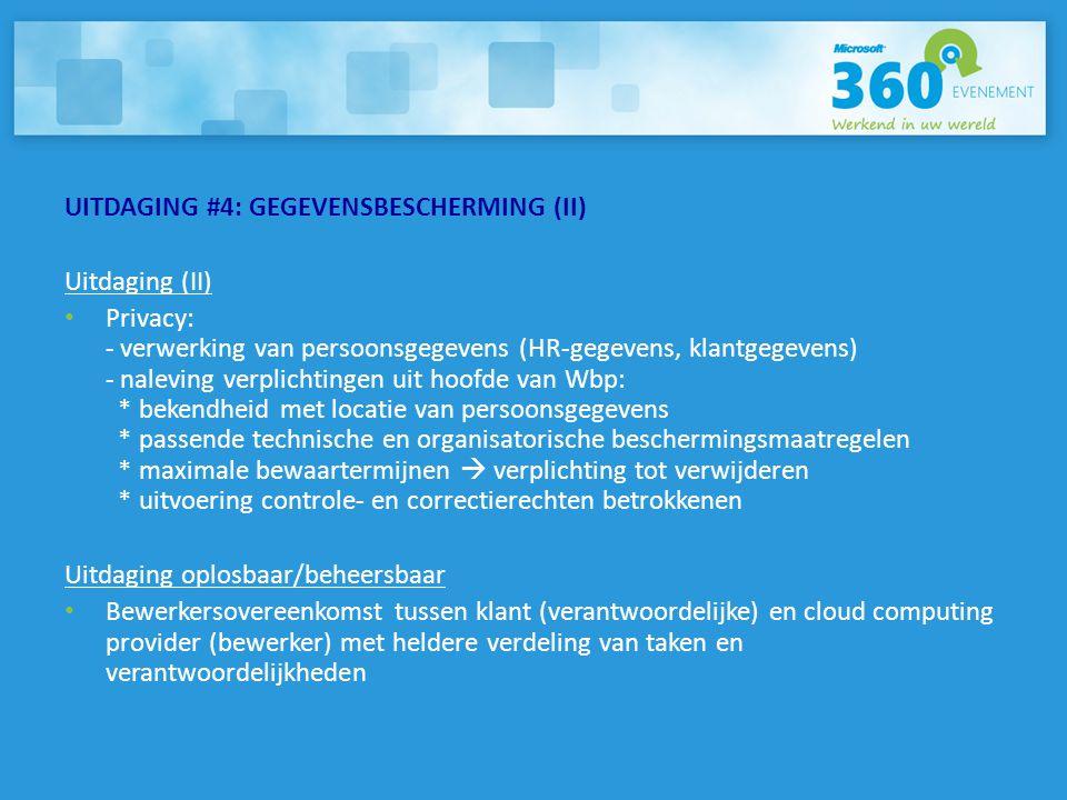 UITDAGING #4: GEGEVENSBESCHERMING (II)