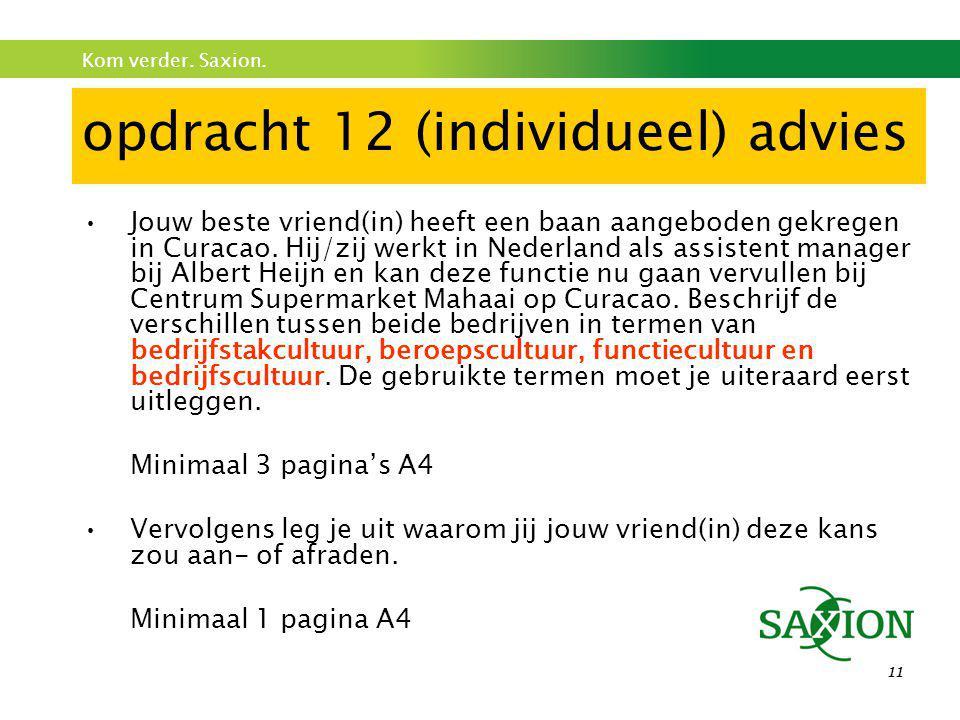 opdracht 12 (individueel) advies