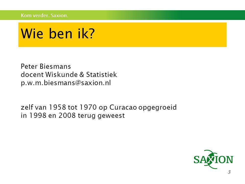 Wie ben ik Peter Biesmans docent Wiskunde & Statistiek