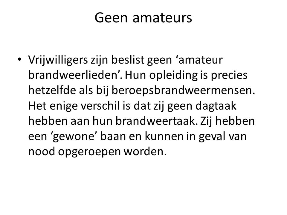 Geen amateurs