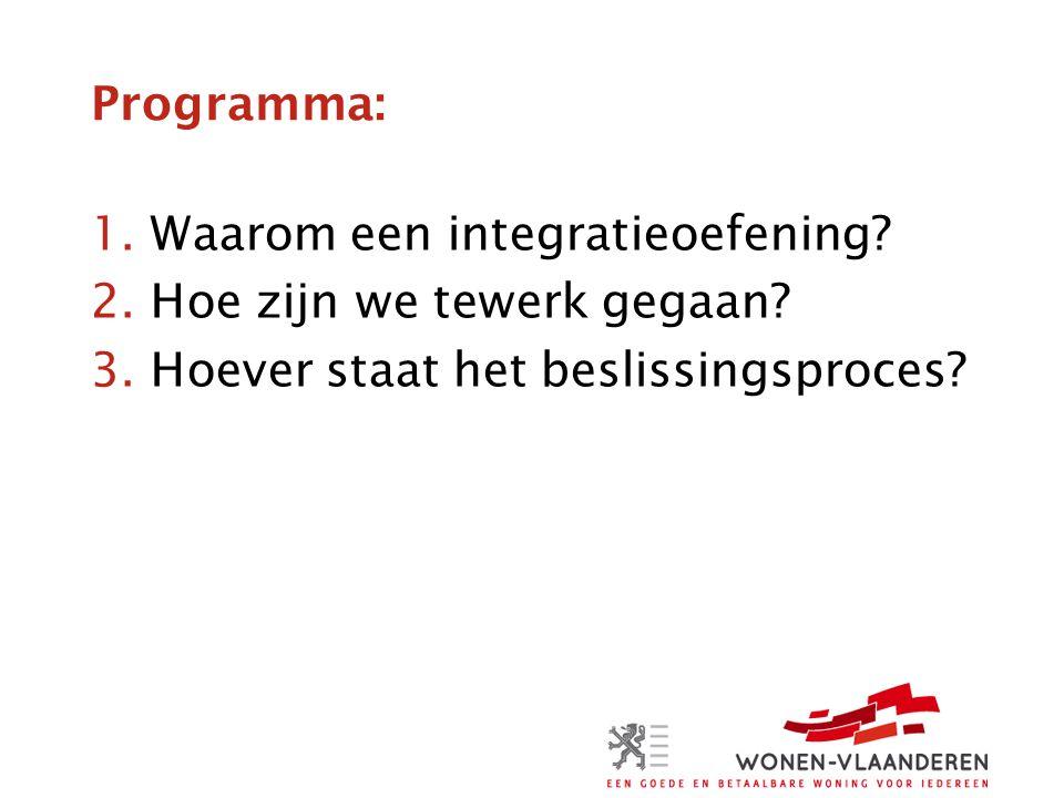 Programma: Waarom een integratieoefening. Hoe zijn we tewerk gegaan.