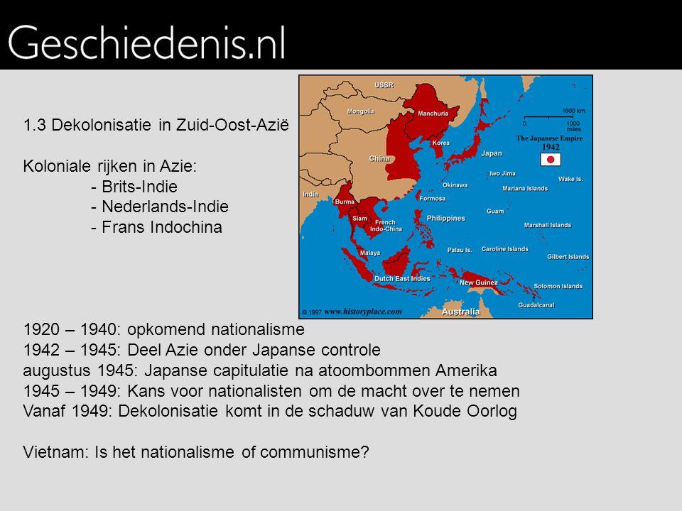 1.3 Dekolonisatie in Zuid-Oost-Azië