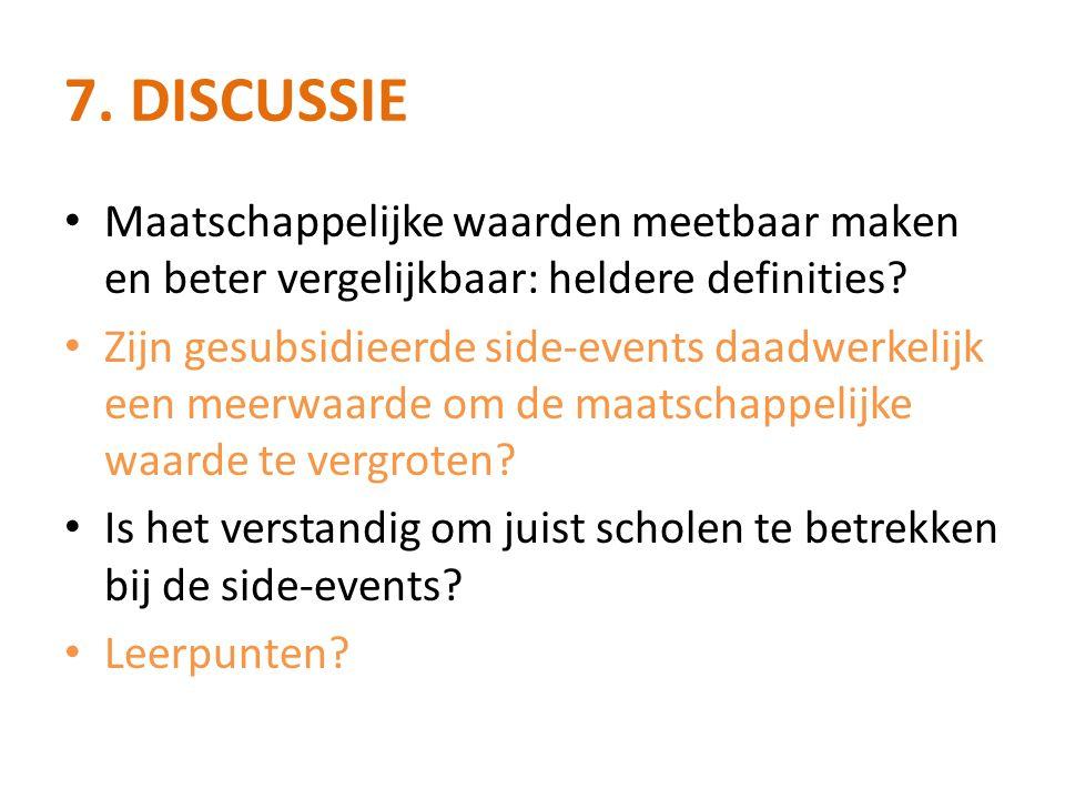 7. Discussie Maatschappelijke waarden meetbaar maken en beter vergelijkbaar: heldere definities