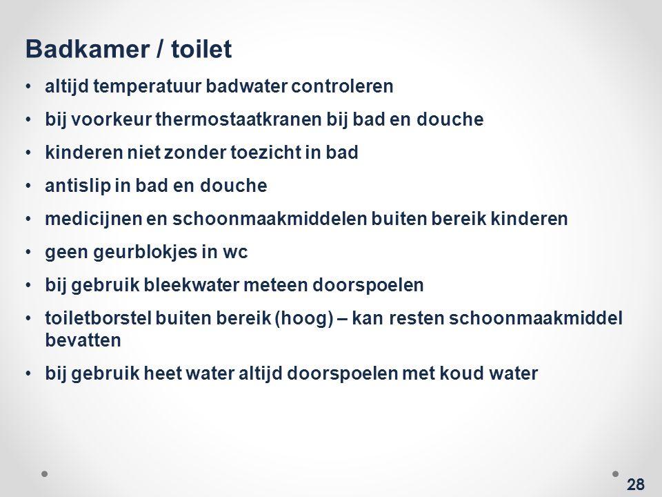 Badkamer / toilet altijd temperatuur badwater controleren