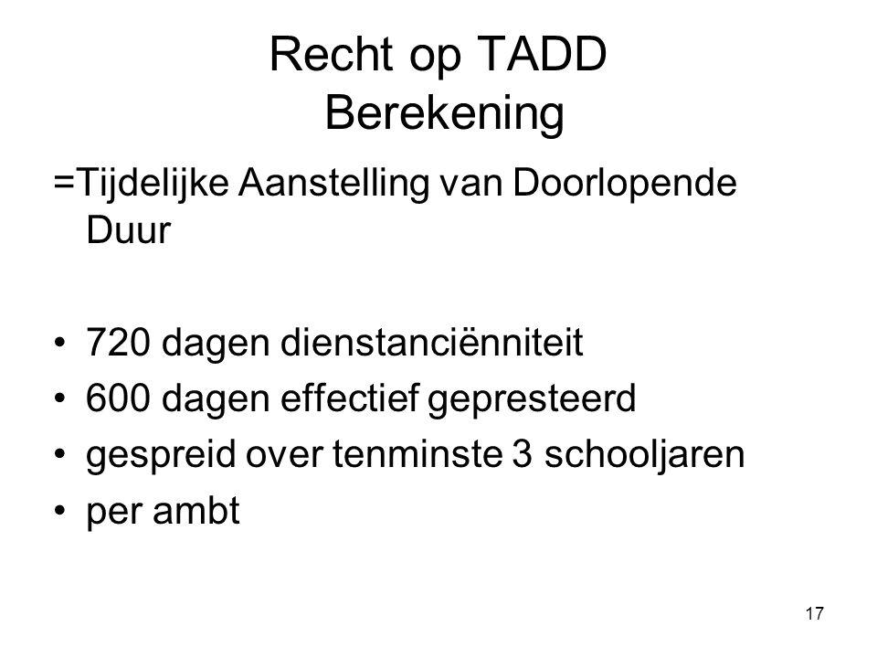 Recht op TADD Berekening