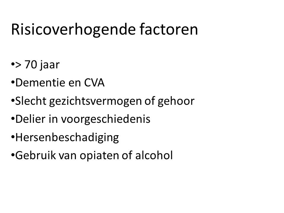 Risicoverhogende factoren