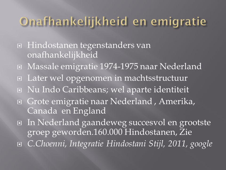 Onafhankelijkheid en emigratie