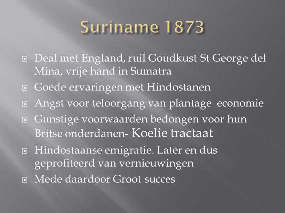 Suriname 1873 Deal met England, ruil Goudkust St George del Mina, vrije hand in Sumatra. Goede ervaringen met Hindostanen.