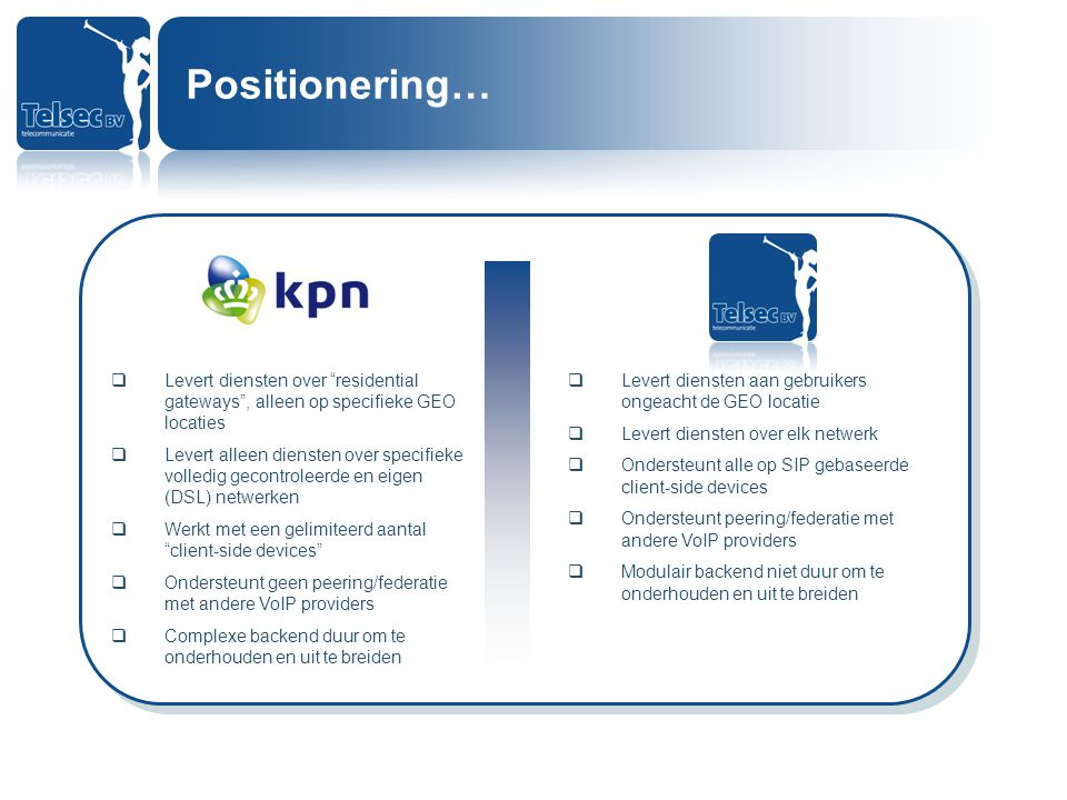 Positionering… Levert diensten over residential gateways , alleen op specifieke GEO locaties.
