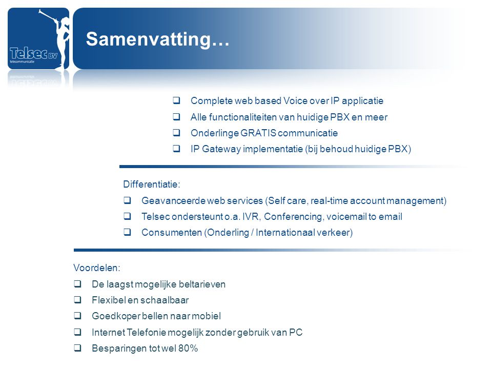 Samenvatting… Complete web based Voice over IP applicatie