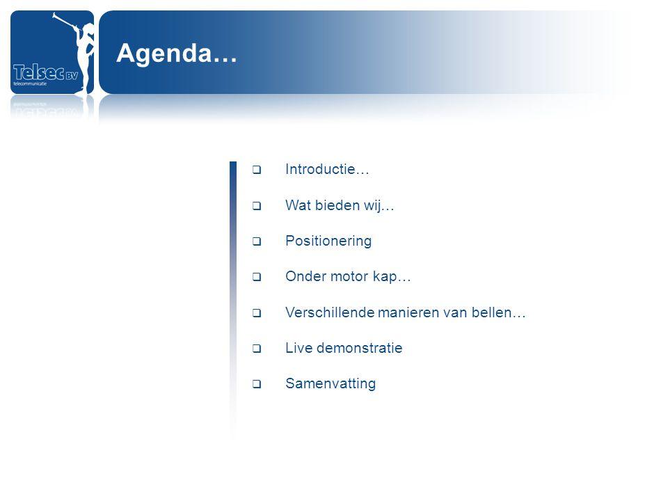 Agenda… Introductie… Wat bieden wij… Positionering Onder motor kap…