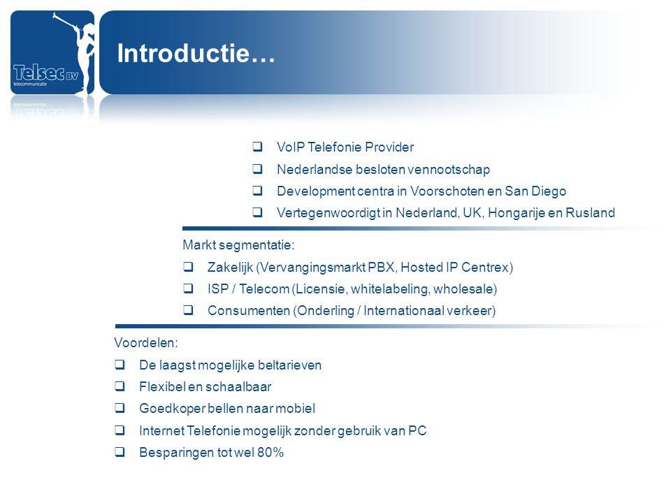 Introductie… VoIP Telefonie Provider Nederlandse besloten vennootschap