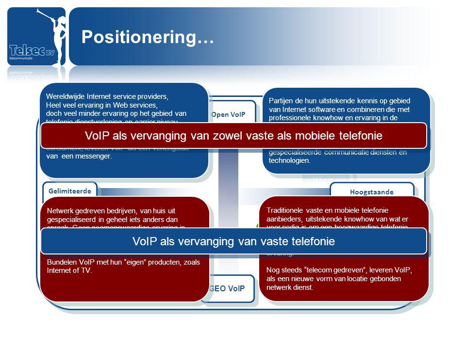 Positionering… Wereldwijde Internet service providers, Heel veel ervaring in Web services,