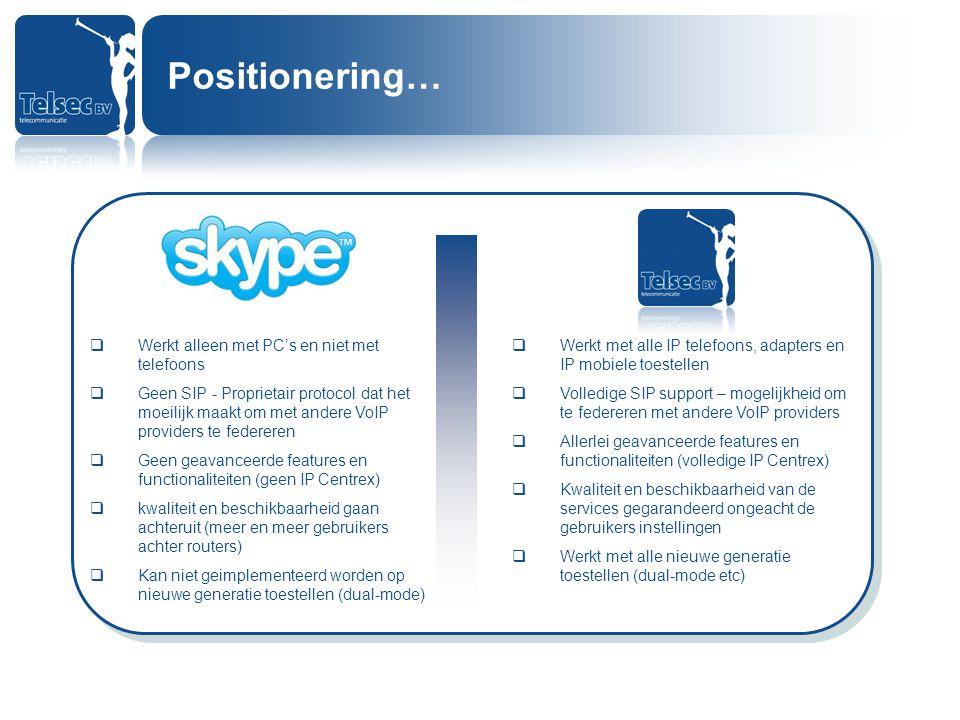 Positionering… Werkt alleen met PC's en niet met telefoons