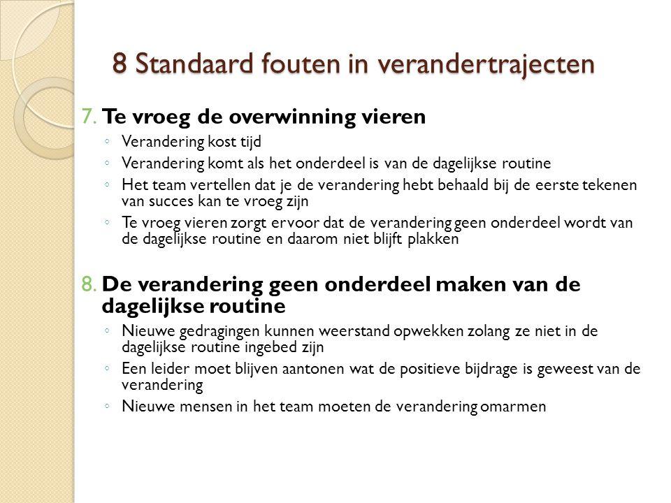 8 Standaard fouten in verandertrajecten