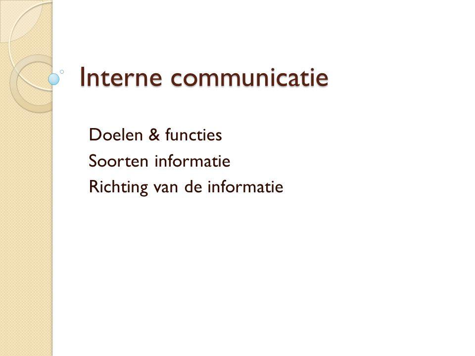 Interne communicatie Doelen & functies Soorten informatie