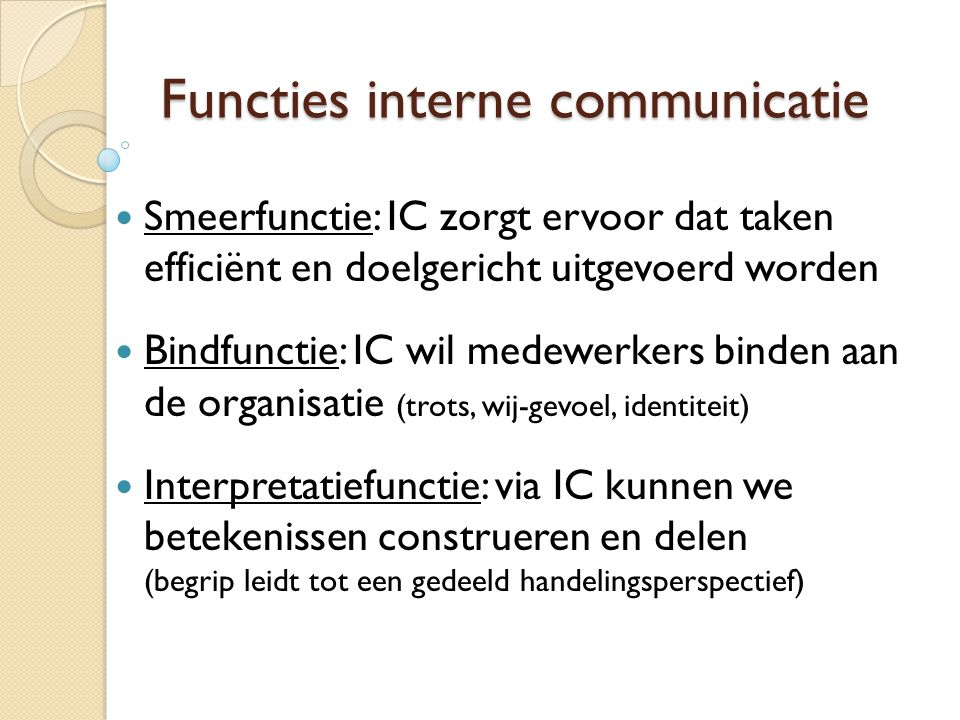 Functies interne communicatie