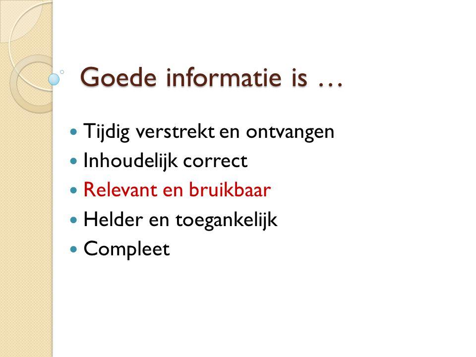 Goede informatie is … Tijdig verstrekt en ontvangen