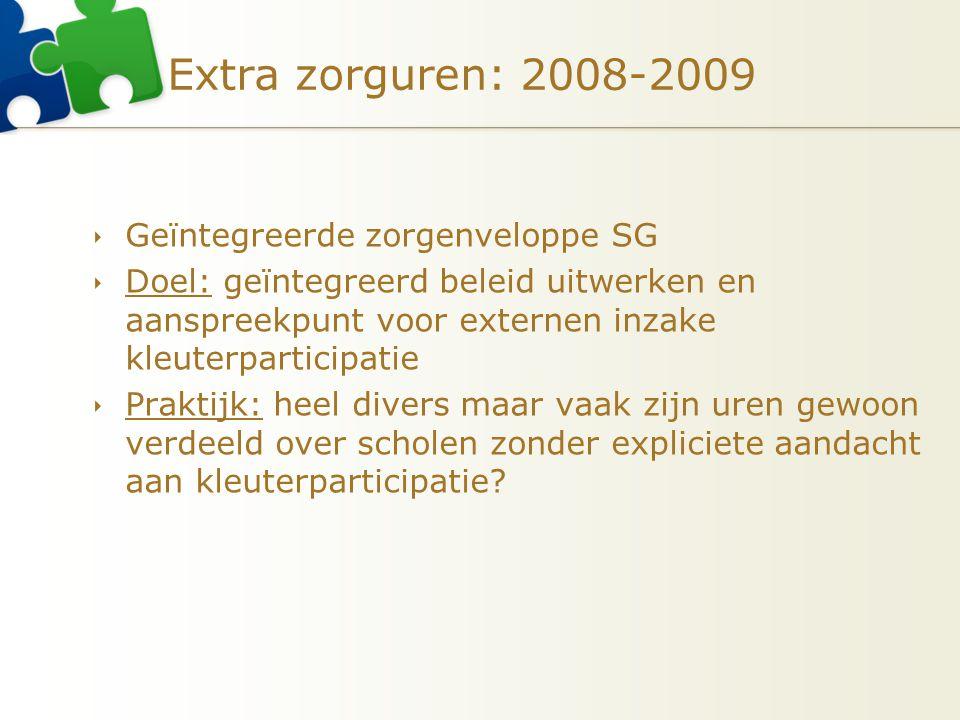 Extra zorguren: 2008-2009 Geïntegreerde zorgenveloppe SG