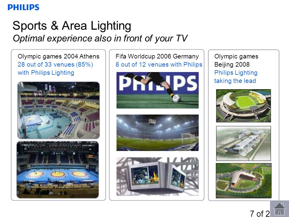 Sports & Area Lighting Optimal experience also in front of your TV