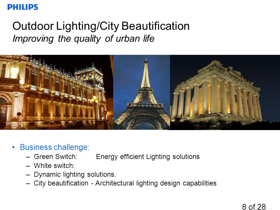 Outdoor Lighting/City Beautification Improving the quality of urban life