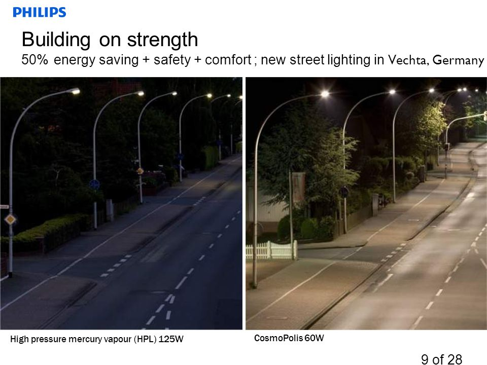 Building on strength 50% energy saving + safety + comfort ; new street lighting in Vechta, Germany