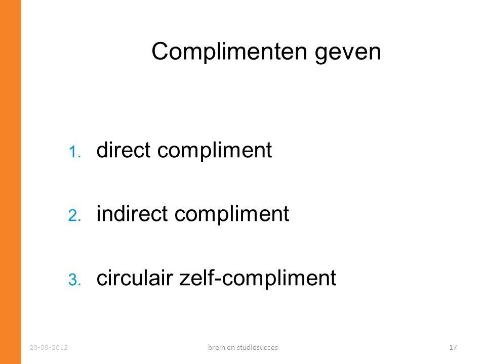 Complimenten geven direct compliment indirect compliment