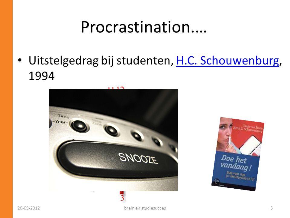 Procrastination.… Uitstelgedrag bij studenten, H.C. Schouwenburg, 1994