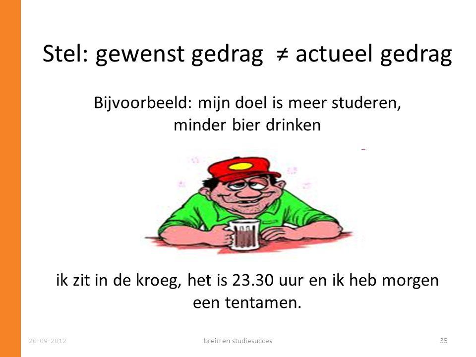 Stel: gewenst gedrag ≠ actueel gedrag Bijvoorbeeld: mijn doel is meer studeren, minder bier drinken Maar…. ik zit in de kroeg, het is 23.30 uur en ik heb morgen een tentamen.
