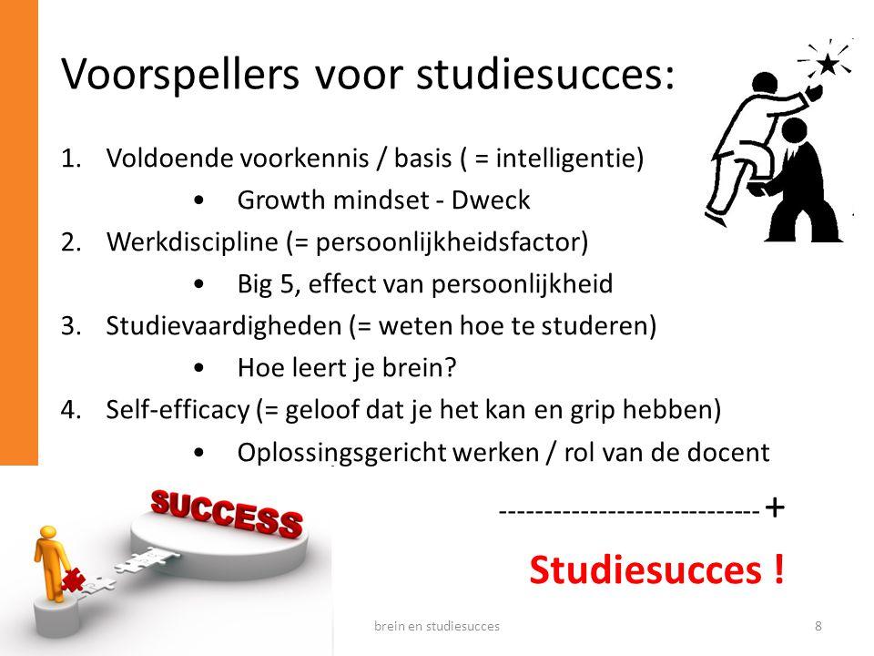 Voorspellers voor studiesucces:
