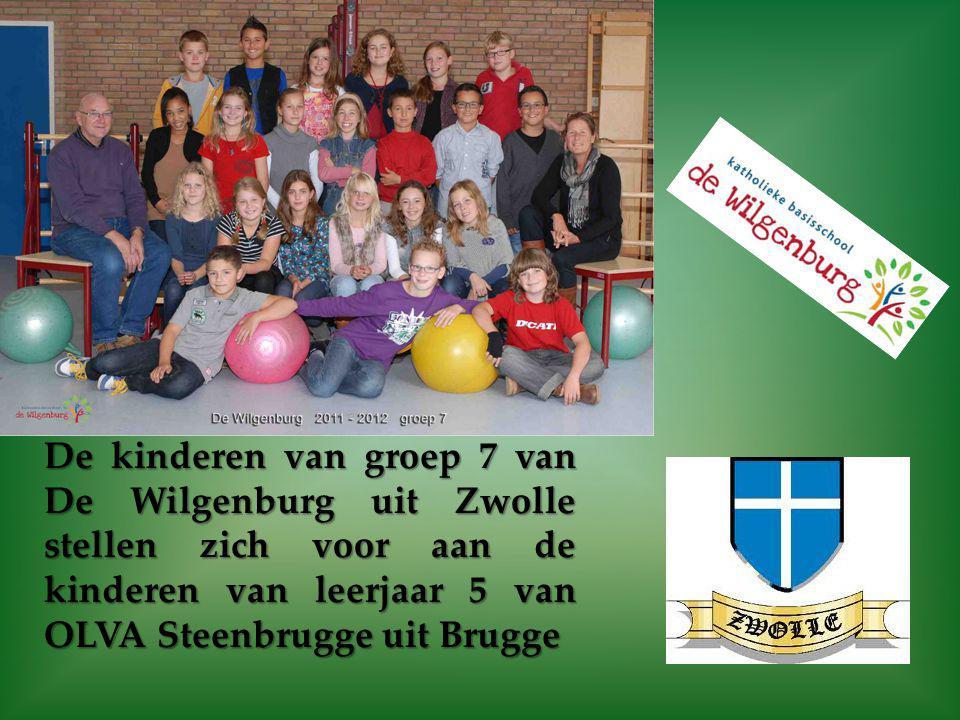 De kinderen van groep 7 van De Wilgenburg uit Zwolle stellen zich voor aan de kinderen van leerjaar 5 van OLVA Steenbrugge uit Brugge