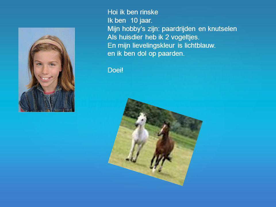 Hoi ik ben rinske Ik ben 10 jaar. Mijn hobby's zijn: paardrijden en knutselen. Als huisdier heb ik 2 vogeltjes.