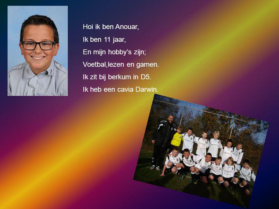 Hoi ik ben Anouar, Ik ben 11 jaar, En mijn hobby's zijn; Voetbal,lezen en gamen. Ik zit bij berkum in D5.