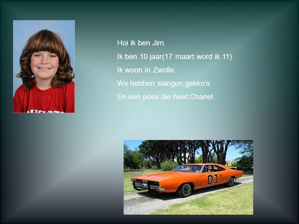 Hoi ik ben Jim. Ik ben 10 jaar(17 maart word ik 11) Ik woon in Zwolle. We hebben slangen,gekko's.