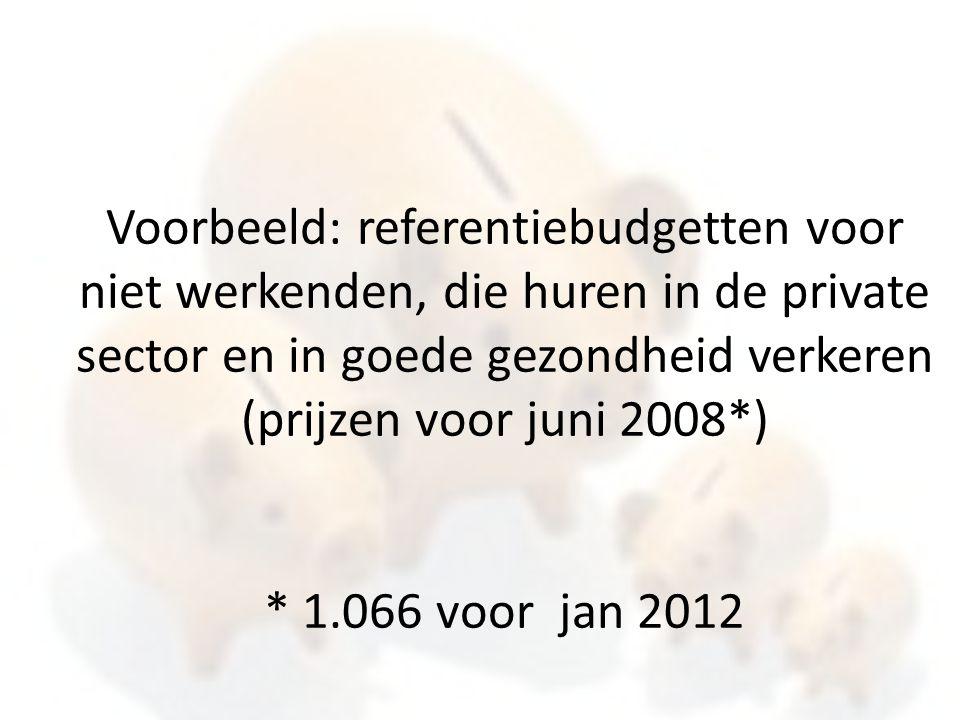 Voorbeeld: referentiebudgetten voor niet werkenden, die huren in de private sector en in goede gezondheid verkeren (prijzen voor juni 2008*) * 1.066 voor jan 2012
