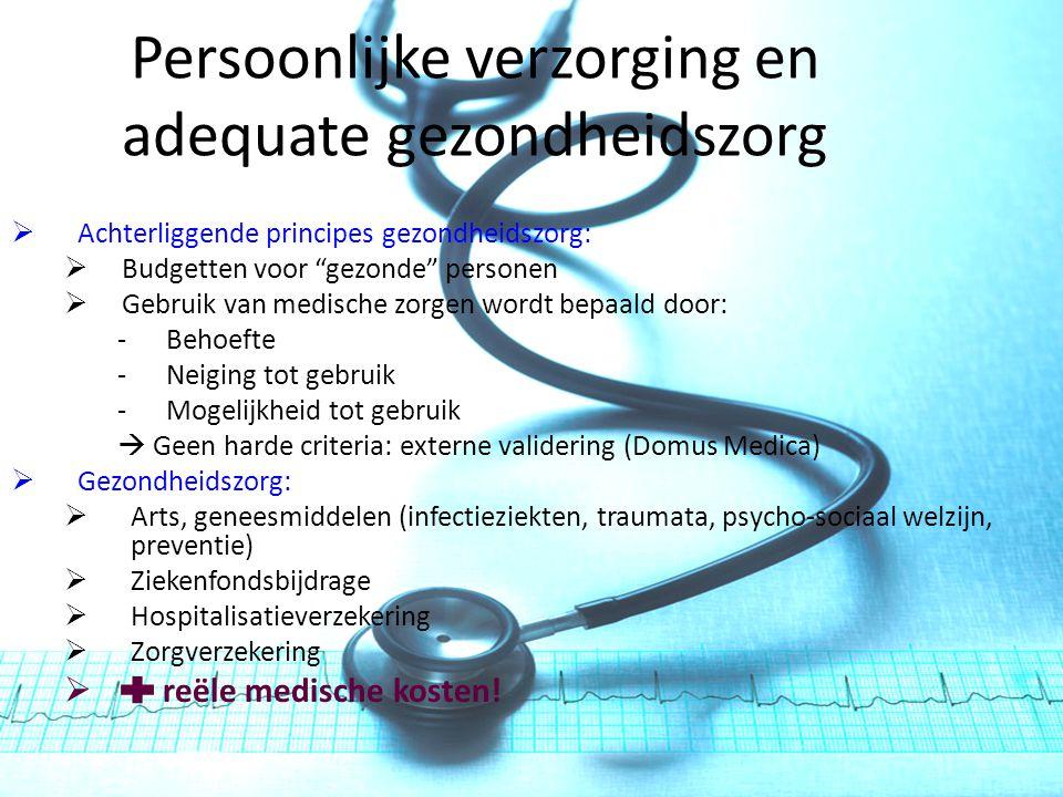 Persoonlijke verzorging en adequate gezondheidszorg