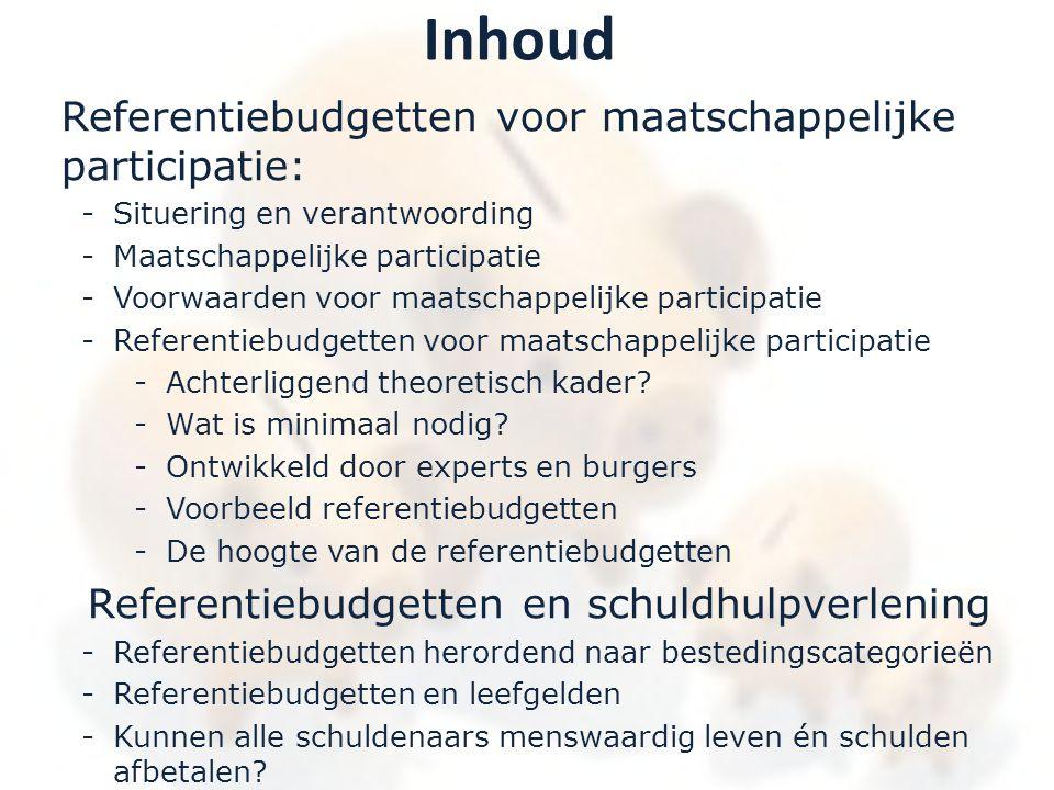 Inhoud Referentiebudgetten voor maatschappelijke participatie: