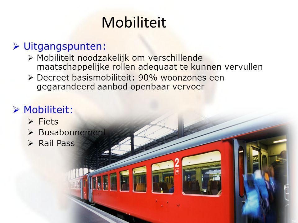 Mobiliteit Uitgangspunten: Mobiliteit: