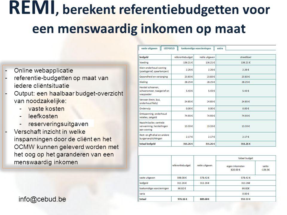 REMI, berekent referentiebudgetten voor een menswaardig inkomen op maat