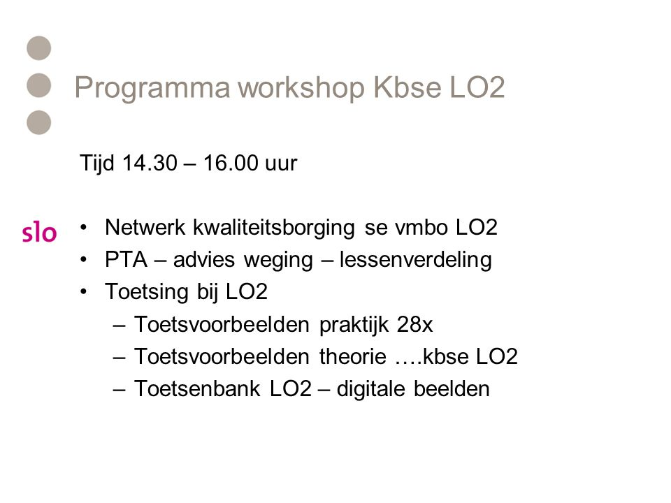 Programma workshop Kbse LO2