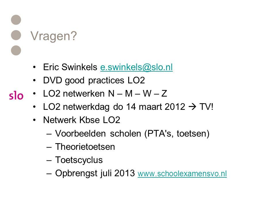 Vragen Eric Swinkels e.swinkels@slo.nl DVD good practices LO2
