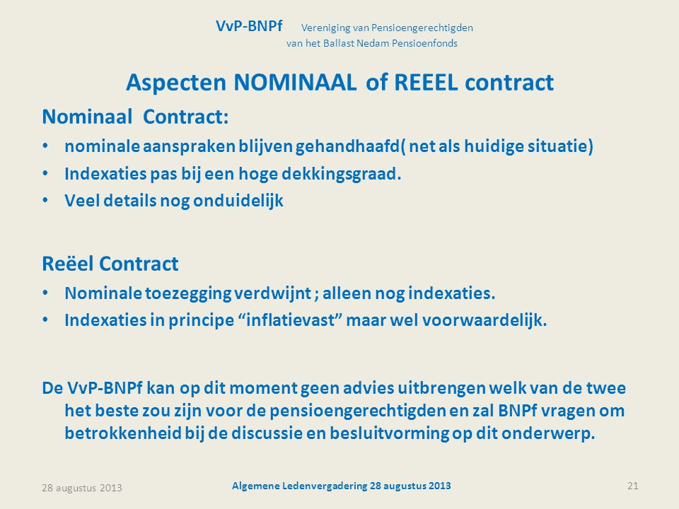 Aspecten NOMINAAL of REEEL contract