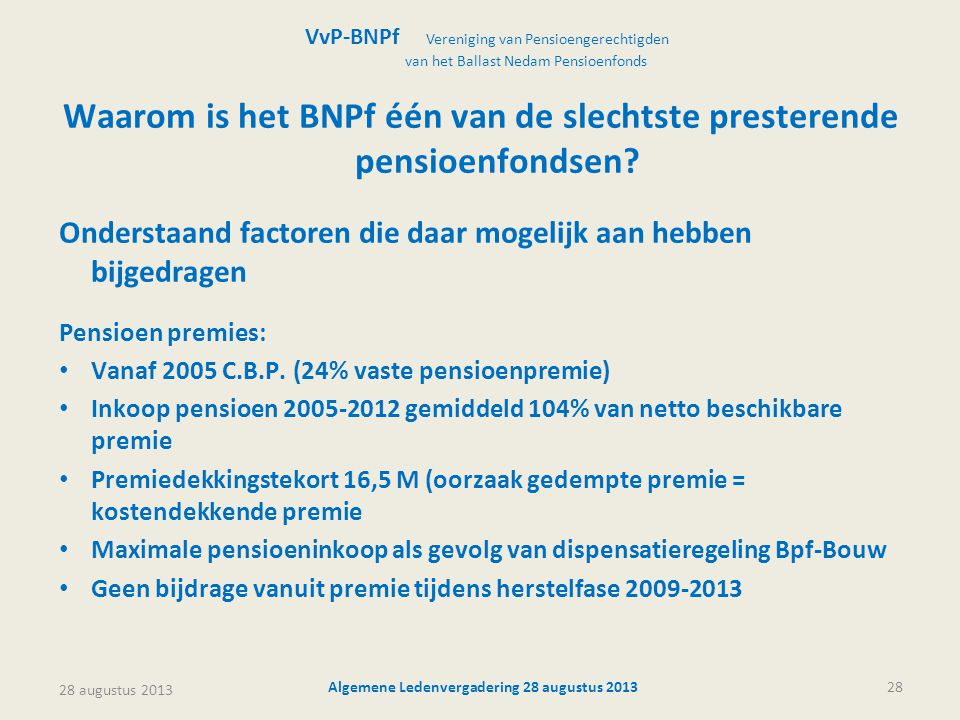 Waarom is het BNPf één van de slechtste presterende pensioenfondsen