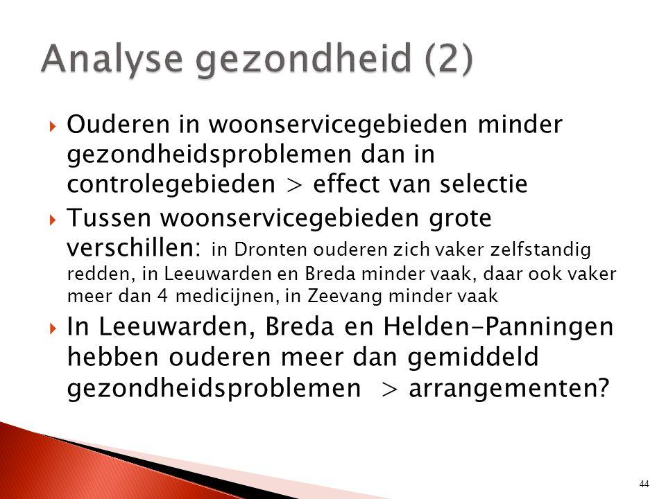 Analyse gezondheid (2) Ouderen in woonservicegebieden minder gezondheidsproblemen dan in controlegebieden > effect van selectie.
