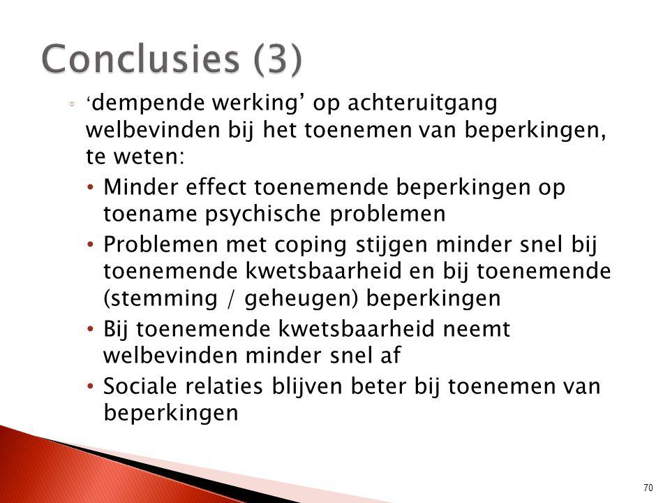 Conclusies (3) 'dempende werking' op achteruitgang welbevinden bij het toenemen van beperkingen, te weten: