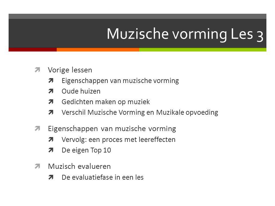 Muzische vorming Les 3 Vorige lessen Muzisch evalueren