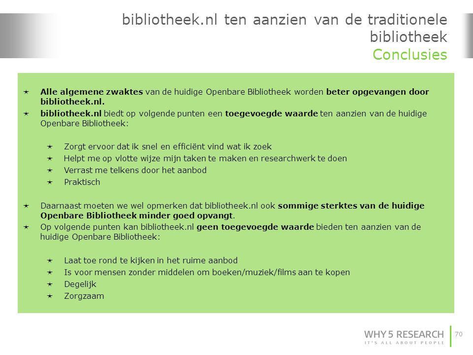 bibliotheek.nl ten aanzien van de traditionele bibliotheek Conclusies