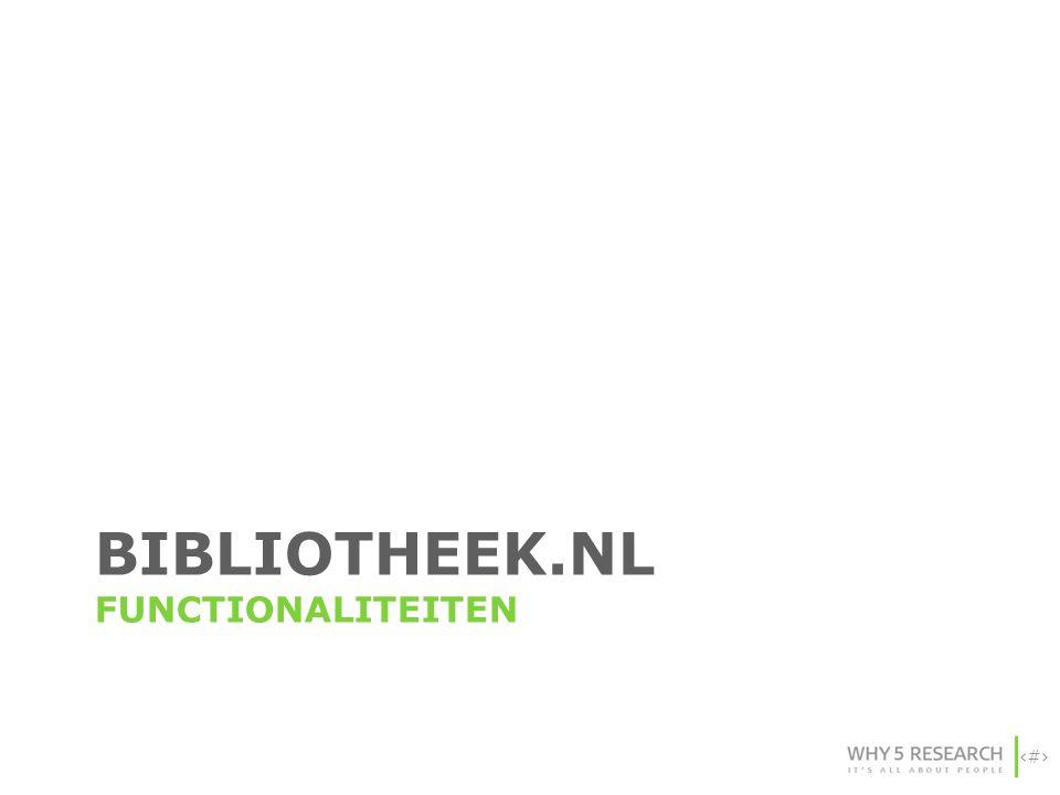bibliotheek.nl FUNCTIONALITEITEN