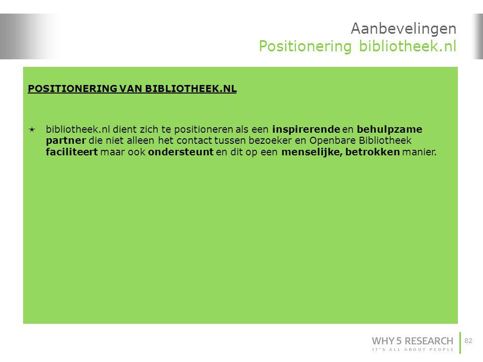 Aanbevelingen Positionering bibliotheek.nl