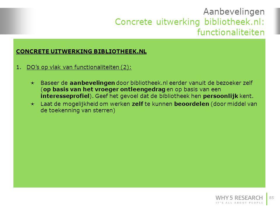 Aanbevelingen Concrete uitwerking bibliotheek.nl: functionaliteiten
